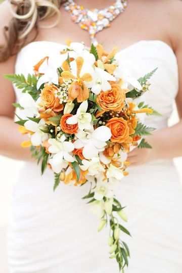 Bouquet of white and orange flowers