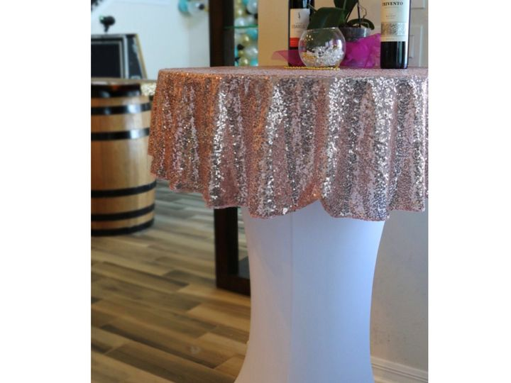Tmx Cocktail Table With Sequin Linen 51 1054775 Groveland, FL wedding rental