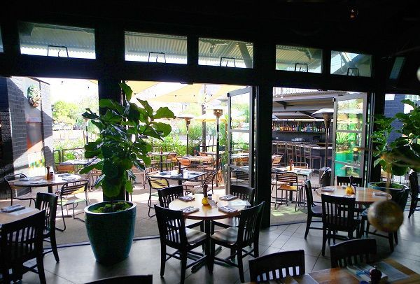 View of the patio from inside the restaurant