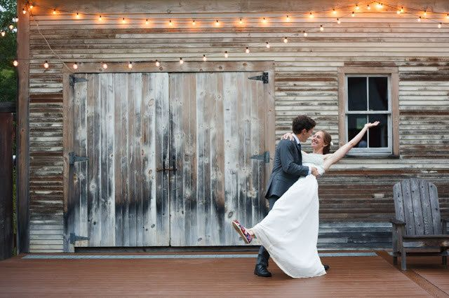 Groom dips his bride