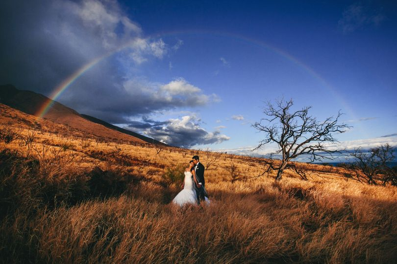 So lucky to have a rainbow appear for portraits at the Hyatt in Lahaina Maui