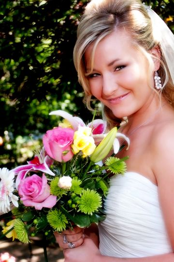 Bride and her flowers