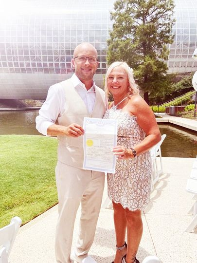 Couple with marriage licence.