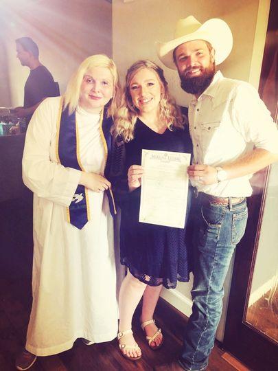 With wedding couple