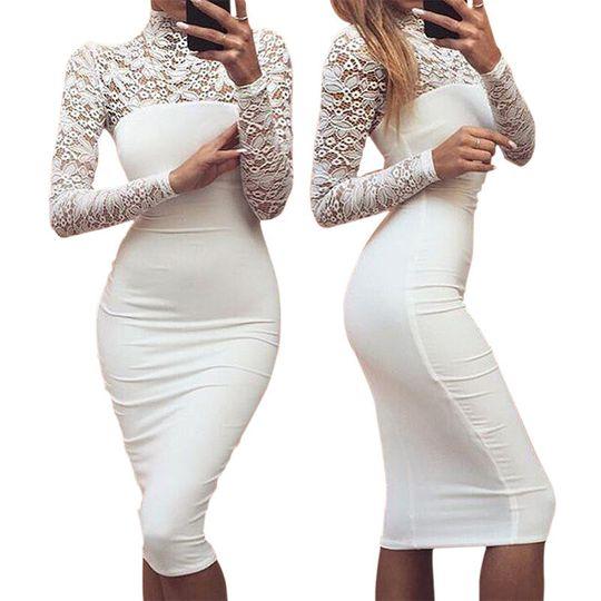 new women elegant bodycon dress sexy white la