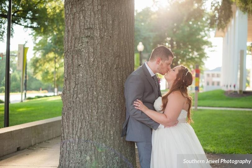The couple's kiss