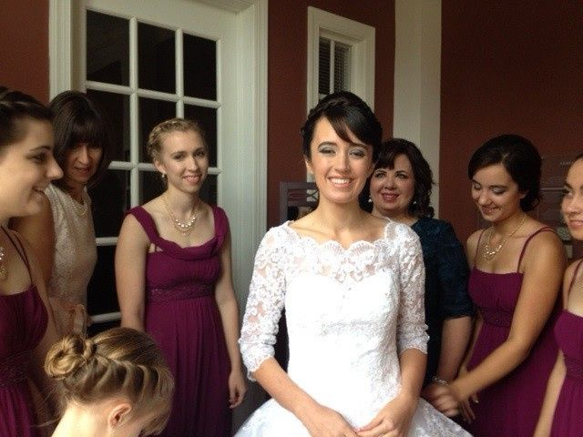 Bride and maid of honor makeup using airbrush for foundation and light smoky eyes.