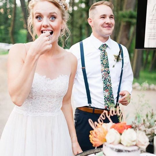 Bride having a bite