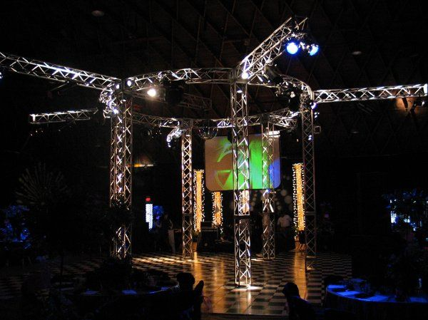 Our Studio 54.  Circular Truss Lighting and Live Video treatments.