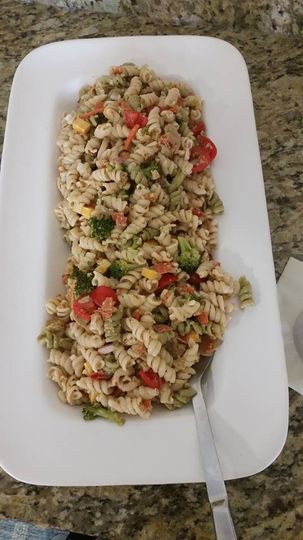 Garlic Parmesan Pasta Salad made with all organic products