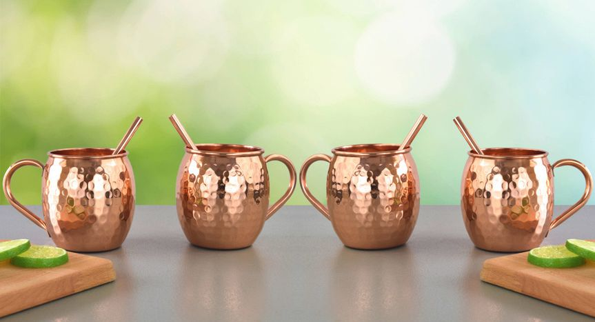 set of 4 copper moscow mule mugs set