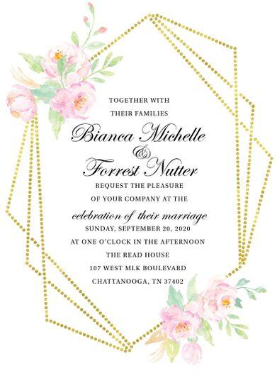 Geometric floral invitation