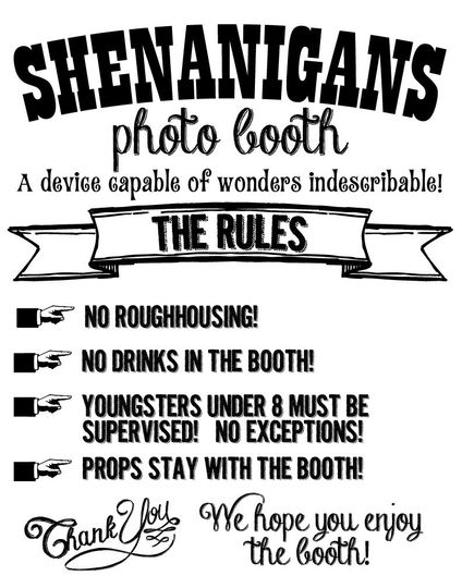 If you rent our booth, here are the rules! Simple.
