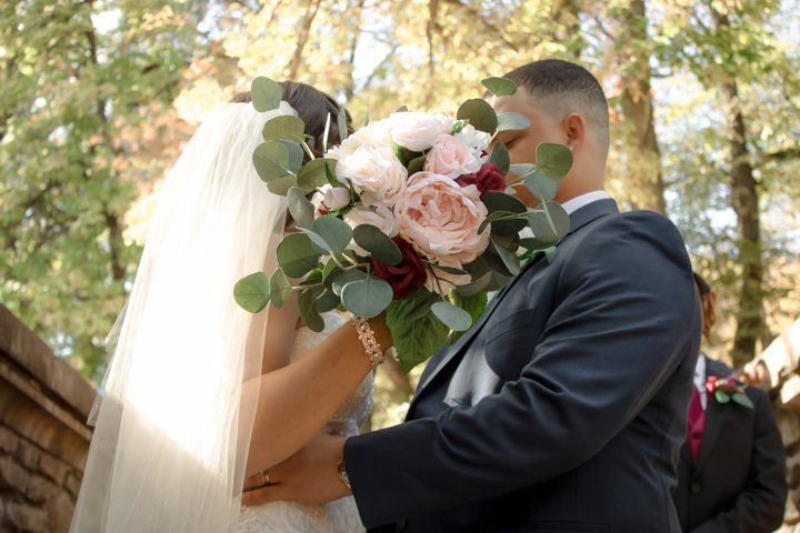 Behind the bouquet