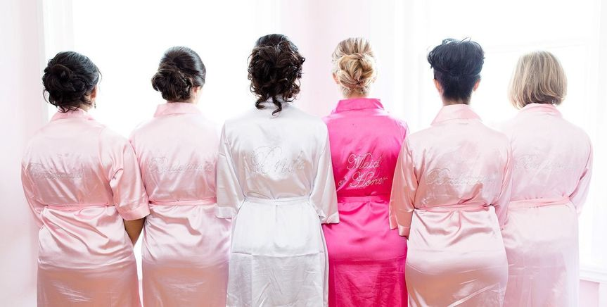 Bridal party in their robes