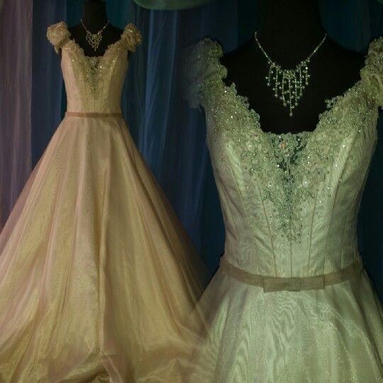 david tutera blush ballgown with sleeves