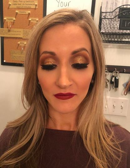Strong eye makeup and bold red lip