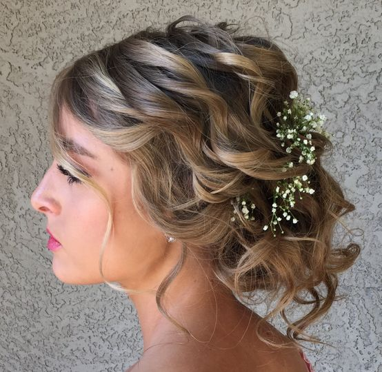 Lots of curls loose updo