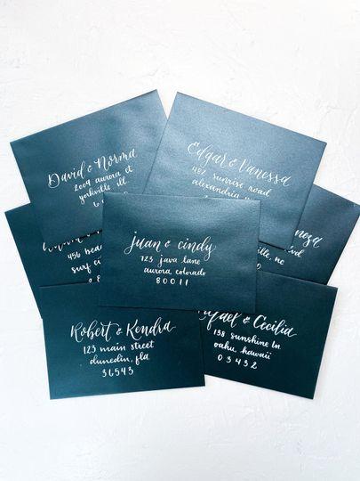 Dark envelope with white ink.