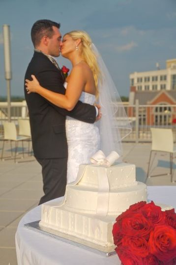 On the rooftop at VisArts Rockville Town Square, Cake by Creative Cakes, (301) 587-1599