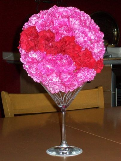 Pink and red floral centerpiece