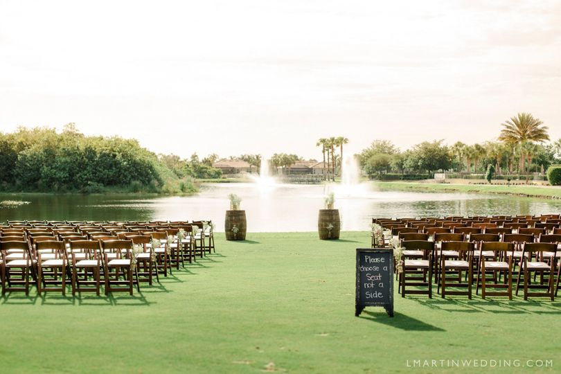 Wedding setup by the lake