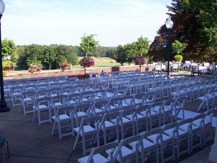 The Grande Terrace, Overlooking the Golf Course, set for a Perfect Ceremony