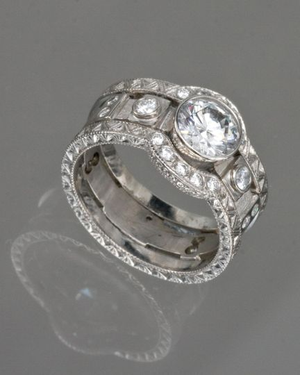14kwhite brittany ring 14kwhite engraved arch band