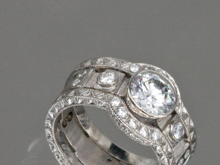 Tmx 1414783087932 14kwhite Brittany Ring 14kwhite Engraved Arch Band Frederick wedding jewelry