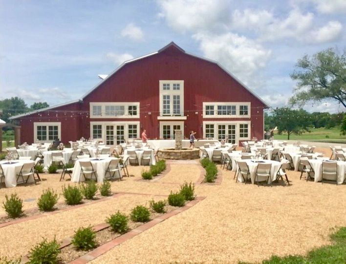 Red barn and grand patio at a different angle