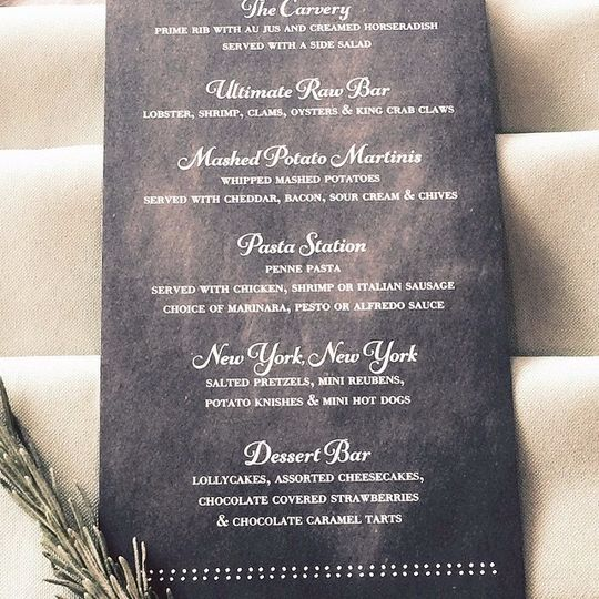 Menu for the special day