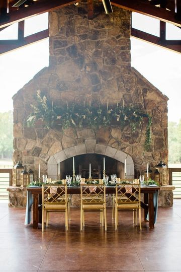 Tablescape and large fireplace
