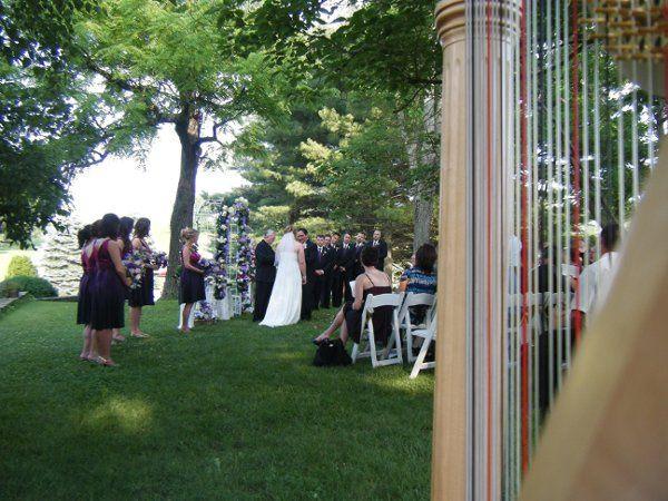 Harp at garden wedding