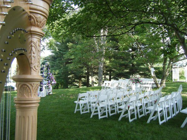 Harp in a garden wedding