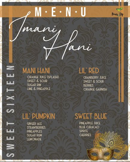 Sweet 16 bar menu