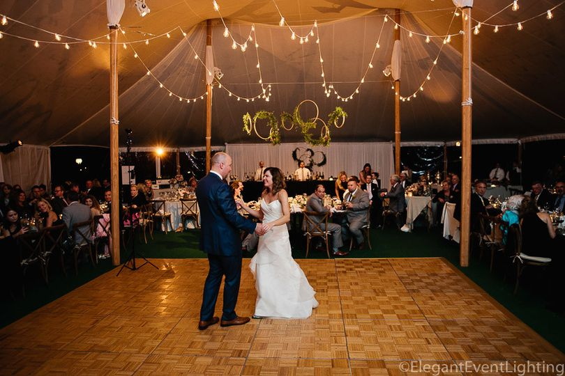 Globe lighting and white band backdrop