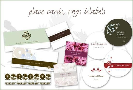 Gift and Favor Stationery for Special Events. Shown here: Place Cards, Favor Labels, Gift Tags. We...