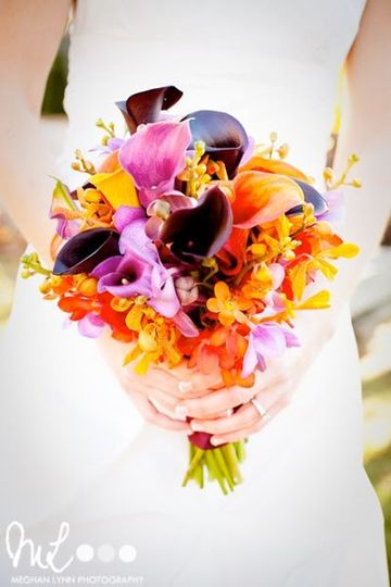 Simple Elegance of 2 different flowers in multiple shades. Plum, Grape & Mango Calla Lilies. With...