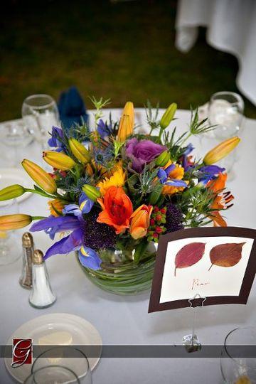 Fall Centerpiece of Iris, Hypericum Berries, Thistle, Purple Kale, Lilies, Sunflowers & Purple...