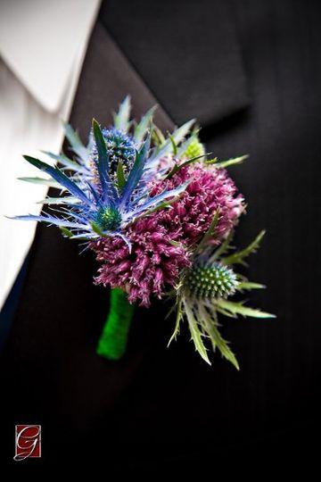 Boutonniere of Thistle & Bullet Allium