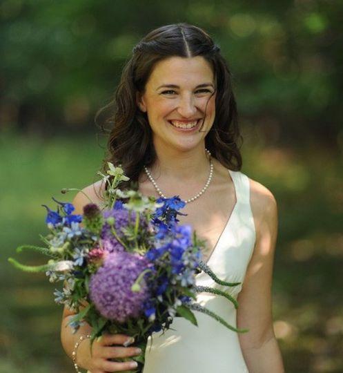 Wildflower Bouquet of Giant Allium, Bullet Allium, Blue Delphinium, Light Blue Tweedia, Scabiosa &...