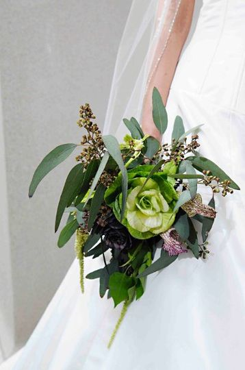Artichokes, Seeded Eucalyptus, Lilies & Hanging Amaranthus