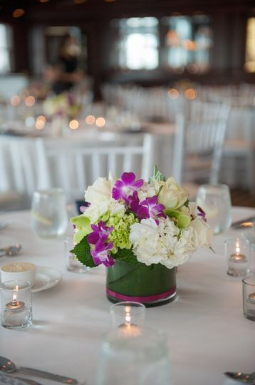 Low Centerpiece of Hydrangea, Roses & Orchids