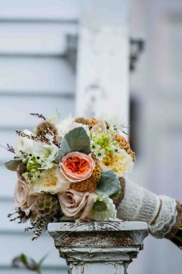 Rustic/Vintage bouquet of Scabiosa, Juliet Garden Roses, Quicksand Roses, Yarrow, Dusty Miller,...