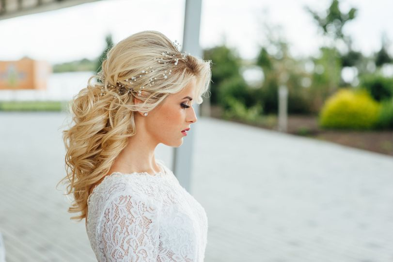 Half updo with curled hair