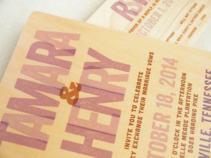 Amos Wood Wedding Invitation & Reply Card shown in periwinkle. (Alternate colorways and printing on...