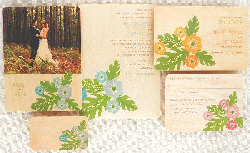 Hibiscus Wood Wedding Suite shown in various colorways. (Alternate colorways and printing on luxury...