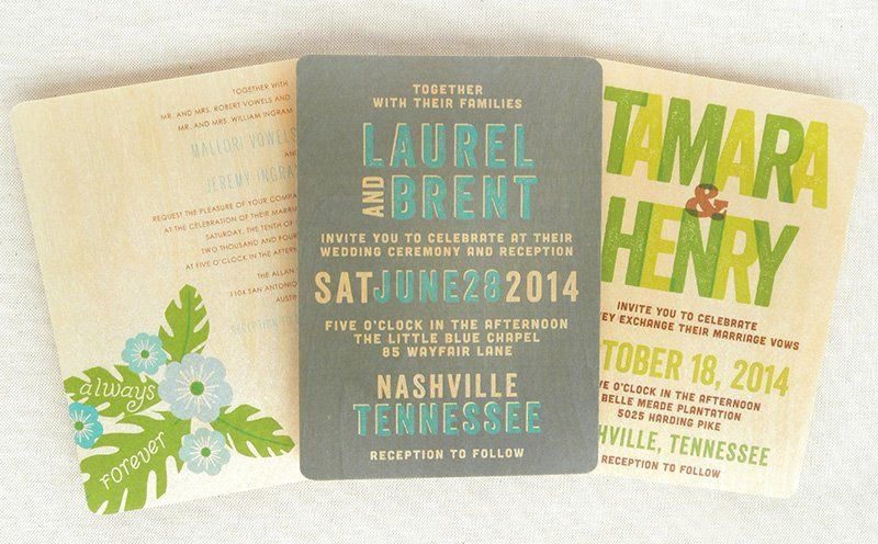 Hibiscus, Winston and Amos Wood Wedding Invitations in various colorways. (Alternate colorways and...