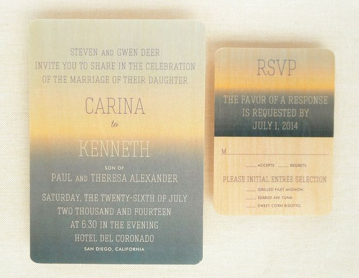 Horizon Wood Wedding Invitation & Reply Card. (Printing on luxury paper also available.)  Inspired...