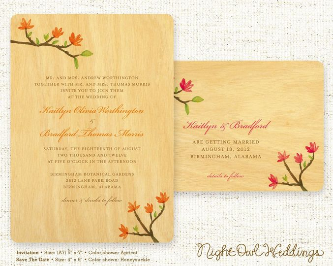 Blooming Branch Wood Wedding Invitation & Save the Date shown in various colorways. (Alternate...